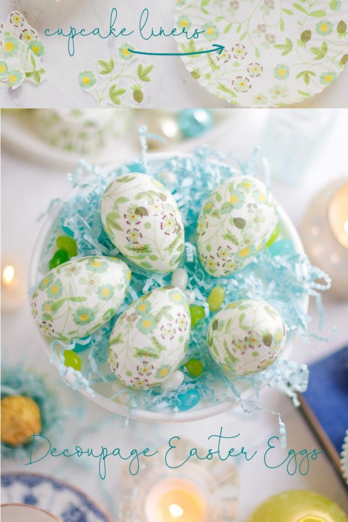 decoupage easter eggs with paper cupcake liners