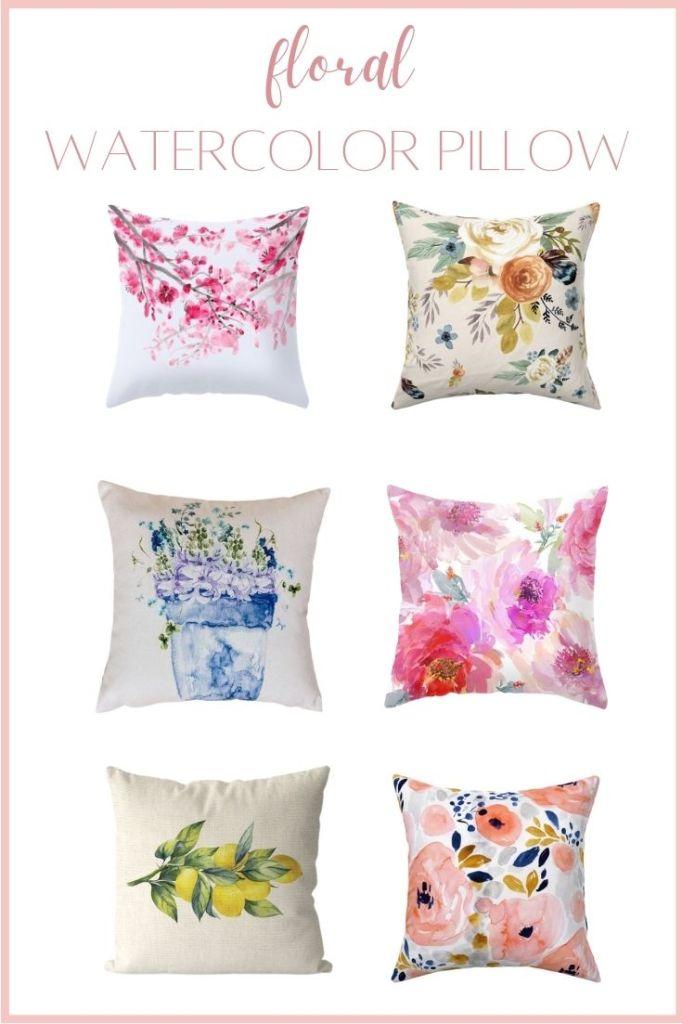 watercolor floral throw pillow pin