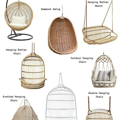 Hanging Rattan Chairs (Serena & Lily, Etsy)