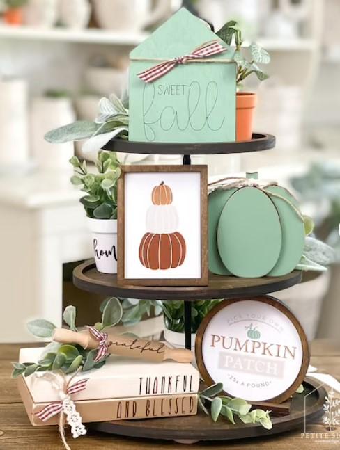 fall tiered tray decor