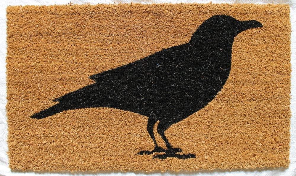 fun crow door mat