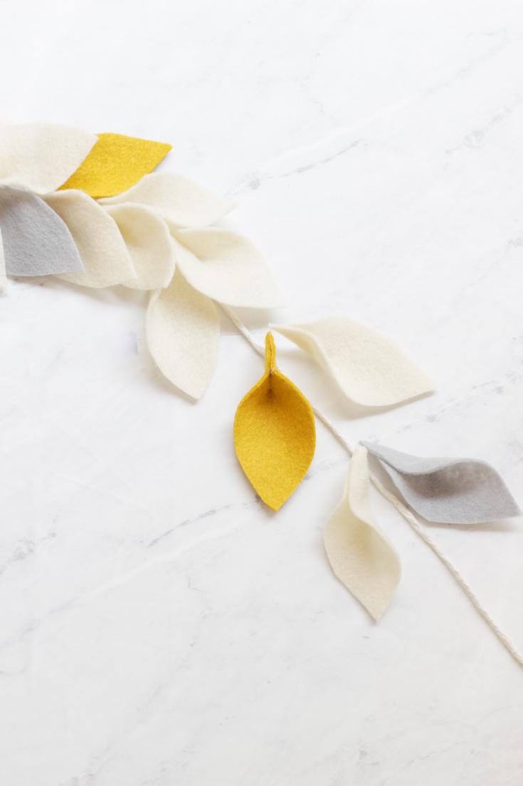 felt leaf garland diy