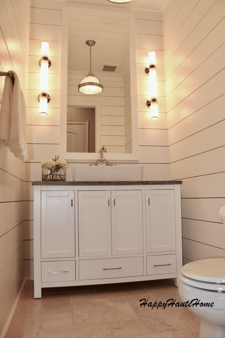 Modern Farmhouse Powder Room Remodel Using Planked Boards