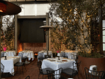 Dining at the Spago Restaurant in Beverly Hills, California
