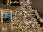 Our Foyer Decorated for Christmas 2019 - Double Flocked Trees