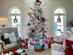 Our 2020 Flocked Christmas Tree and Sunroom Decorated for the Holidays and Tips for Decorating a Room
