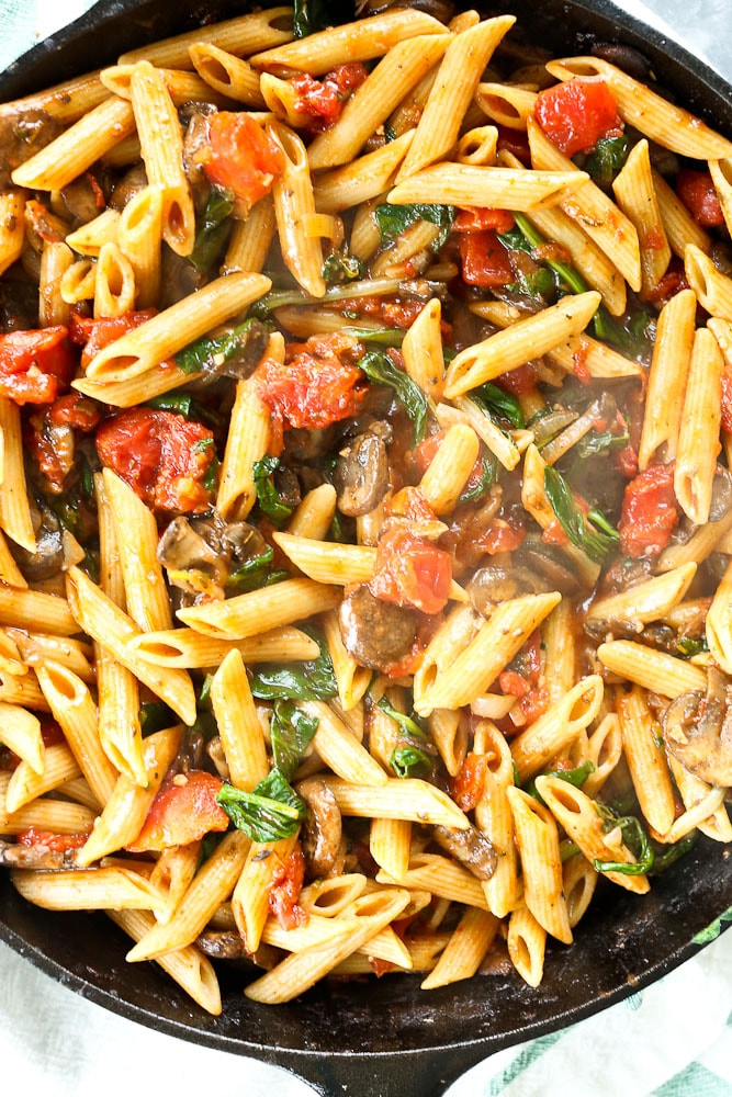 Whole Wheat Penne With Mushrooms Spinach And Tomatoes Happy Healthy Mama
