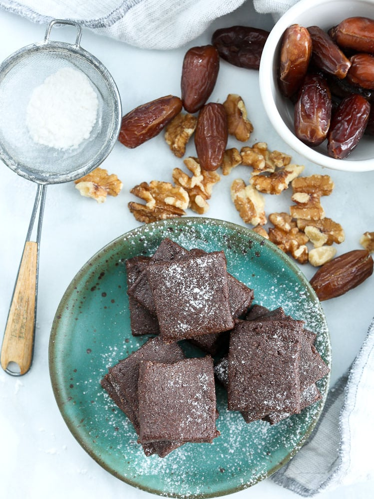 clean eating no bake brownies recipe overhead shot with walnuts and dates