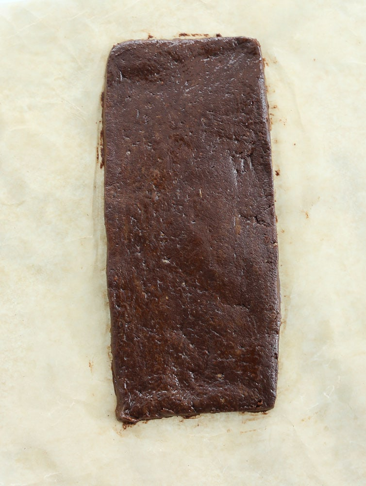 clean eating no bake brownies-form the dough into a rectangle