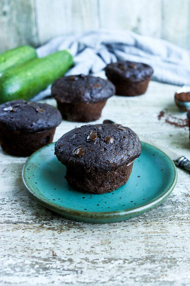 Chocolate Zucchini Muffins with whole wheat flour
