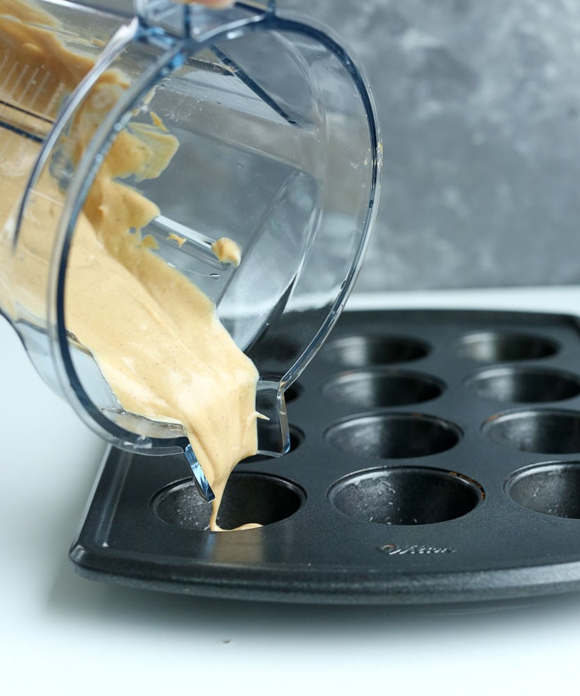 Blender Muffins recipe pouring batter into muffin tin