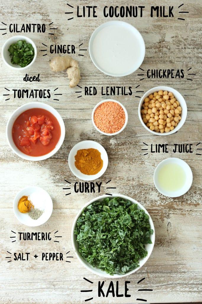 Coconut curry lentil ingredients2
