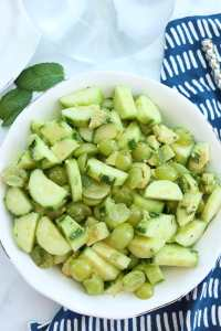 Cucumber Salad with Green Grapes and Avocado and mint #summer #salad #healthy #vinegar #easy #sweet #avocado #vegan #paleo #whole30