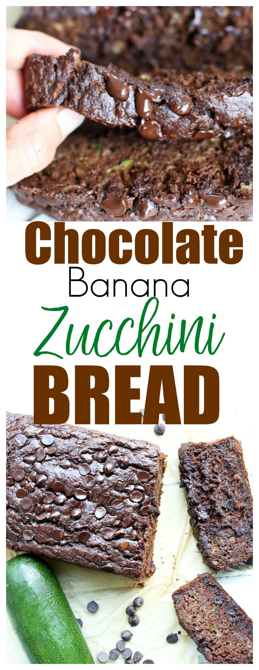 Chocolate Banana Zucchini Bread recipe | quick bread recipe | healthy recipe | healthy dessert | whole grains | Greek Yogurt |