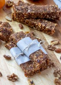 PUMPKIN Spice ENERGY BARs recipe wrapped in paper