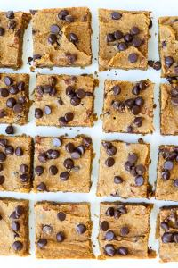 Pumpkin Chocolate Chip Cookie Bars recipe overhead shot cut bars
