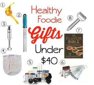 Do you have a healthy foodie in your life? Check out these great gift ideas--everyone on this list is under $40 and many are under $20!!