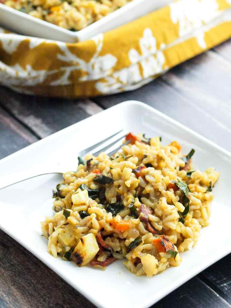 Roasted Vegetable Brown Rice Risotto with Bacon and Kale. This is HEALTHY comfort food at its finest!