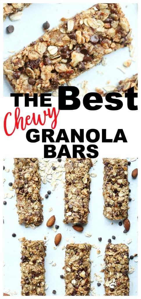 Chewy Homemade Granola Bars recipe #healthy #snacks #kidfriendly #glutenfree #vegan
