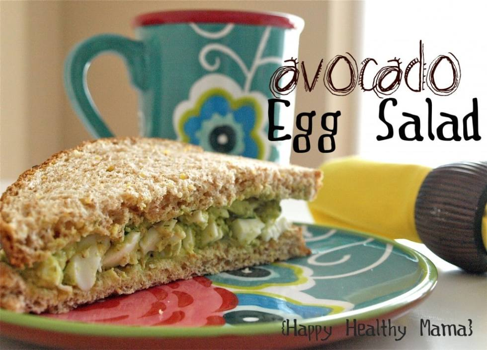 Avocado Egg Salad Sandwich.  No mayo in this delicious egg salad recipe!