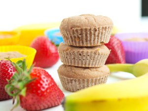 These Strawberry Banana blender muffins are vegan, gluten-free, and nut-free! They are made with no oil or refined sugar and the best part? You blend the batter making the prep time about 5 minutes!! No excuses now--this is a great easy healthy breakfast recipe. These could also be a great gluten free snack for kids.