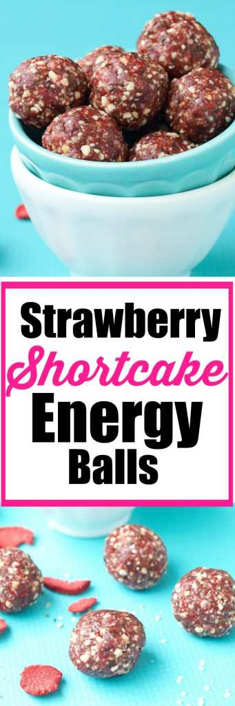 Strawberry Shortcake Energy balls--this recipe tastes just like strawberry CAKE! I love it! Healthy snack recipe. Vegan and gluten free energy ball recipe.