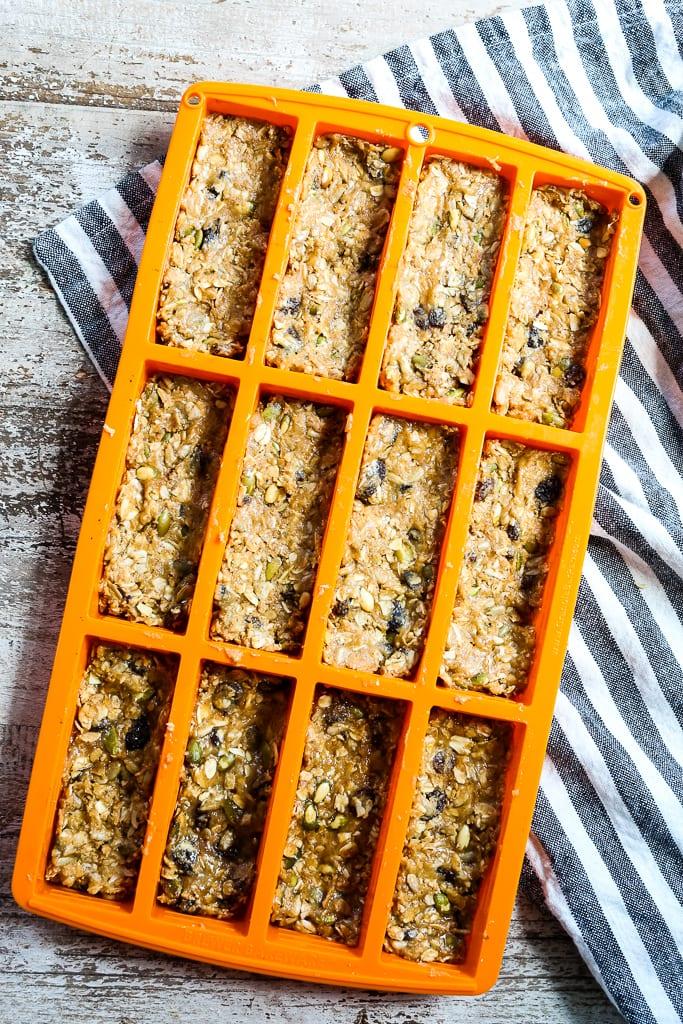 mixture in an orange granola bar pan