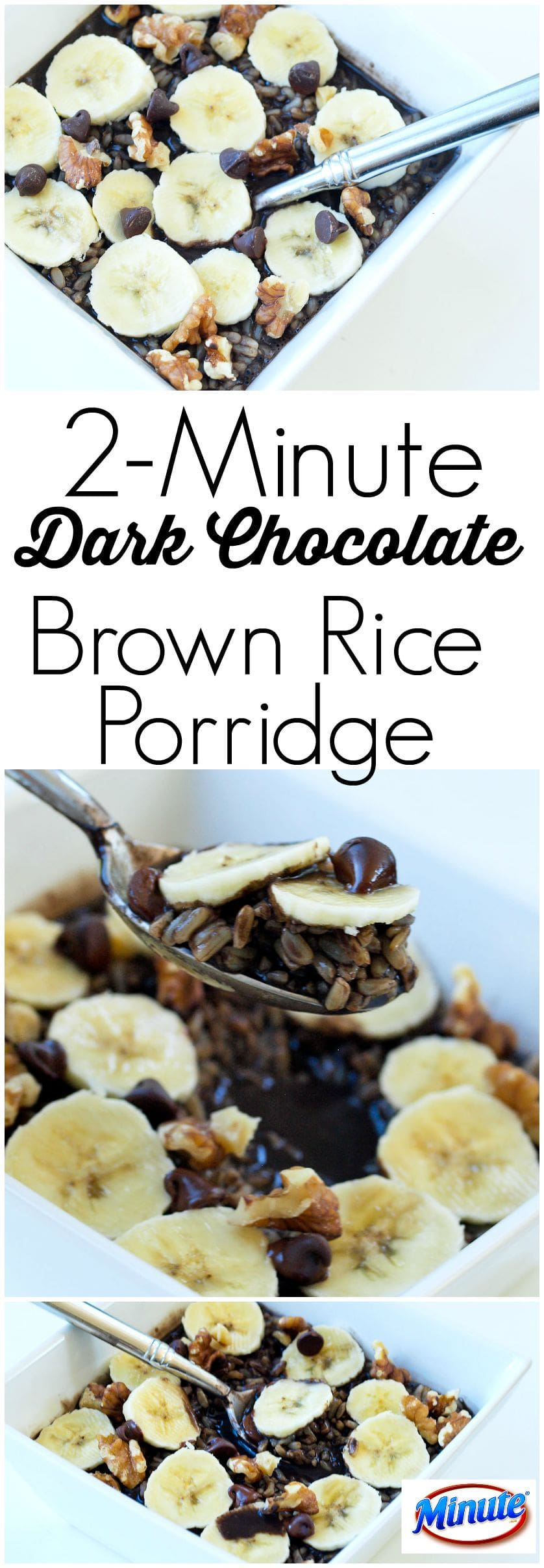 2-Minute Dark Chocolate Brown Rice Porridge recipe. In 2 minutes you can have a wholesome, decadent breakfast (or even dessert!) Easy recipe for busy mornings.
