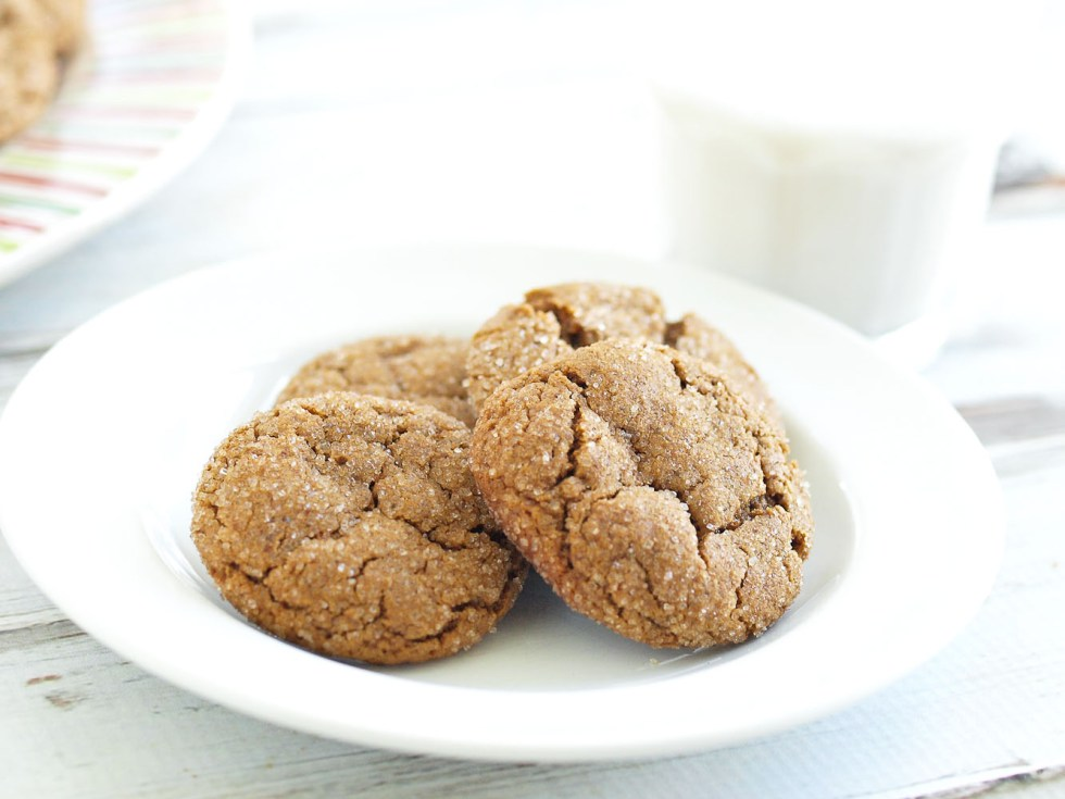 Healthier Ginger Cookies Recipe! If you are looking for healthy Christmas cookie recipes, this is a great one. It uses whole grain flour and no refined sugar. Everyone loved these and no one had a clue that they were made with healthier ingredients. Win!