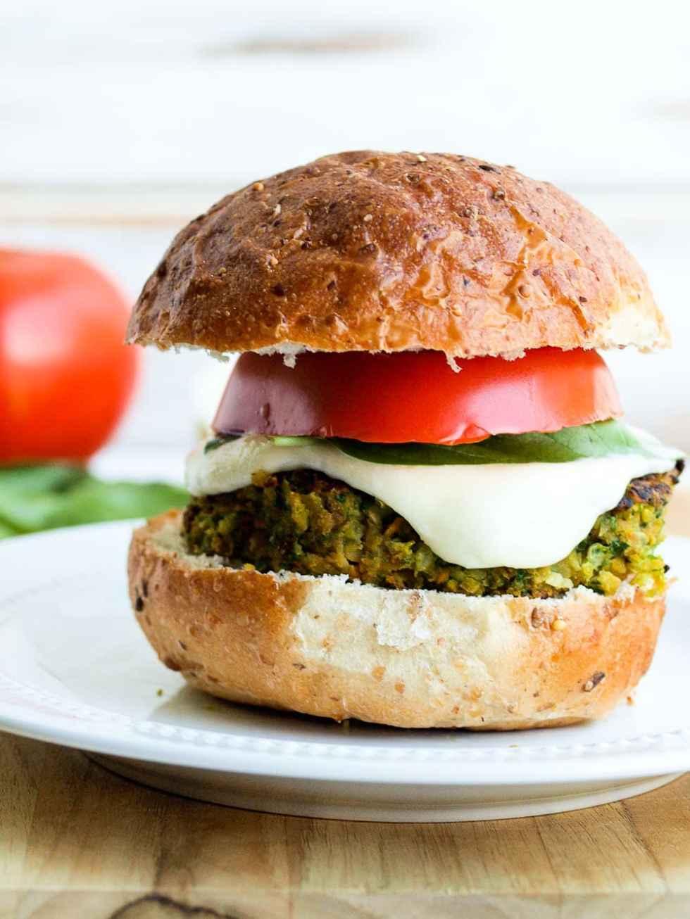 Caprese Chickpea Veggie Burger