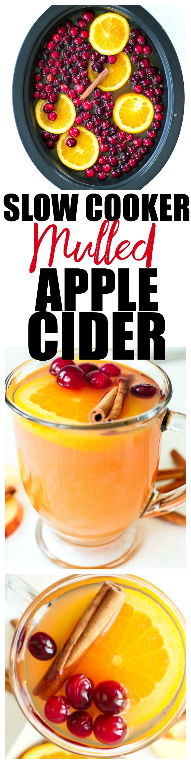 Mulled Hot Apple cider in the Crock-Pot slow cooker recipe! This is perfect for Thanksgiving, Christmas, or any holiday gathering!
