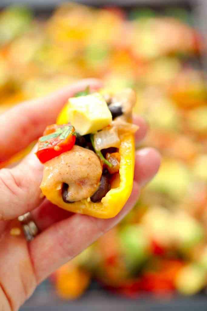 Healthy Mini Bell Pepper Nachos (vegan and gluten-free)