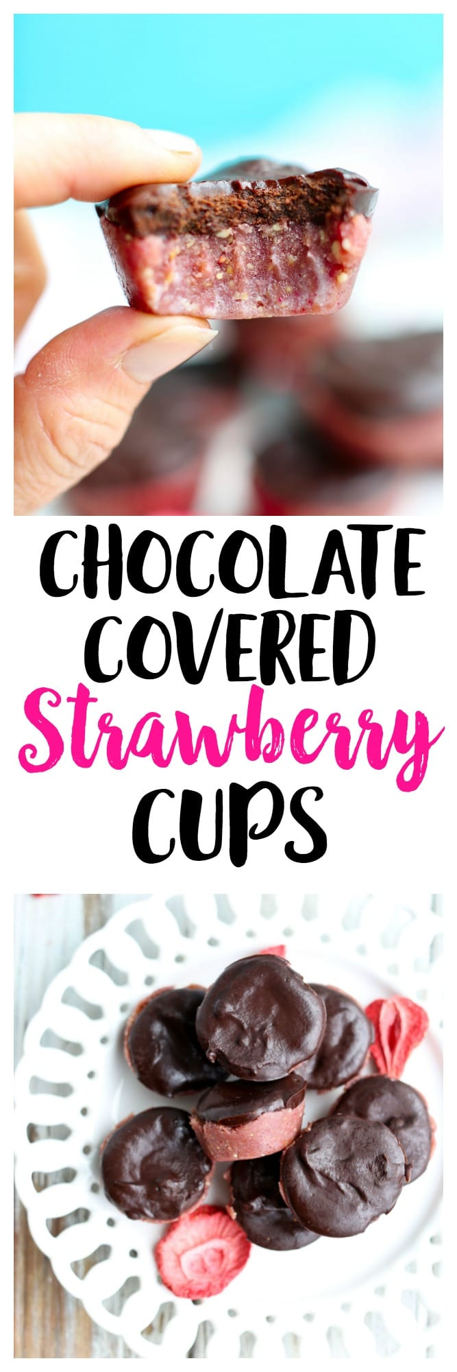 Chocolate Covered Strawberry CUPS recipe! This is a gluten-free, easily adapted to vegan recipe that makes a great healthy snack or dessert!