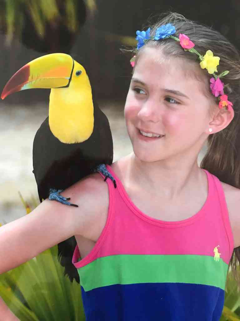 Meghan with a toucan at Club Med Cancun Yucatan