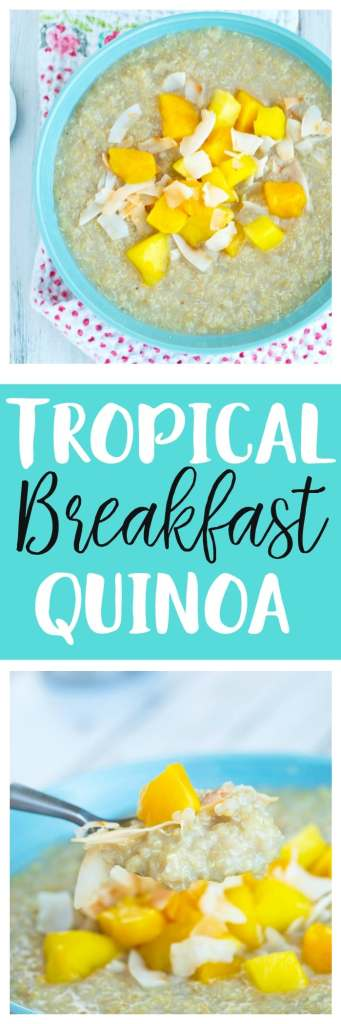 Creamy and vegan Tropical Breakfast Quinoa recipe. This is also a gluten-free breakfast idea! Healthy, delicious, and easy breakfast the whole family loves.