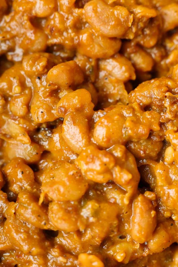 Close up shot of homemade baked beans from scratch using dried beans