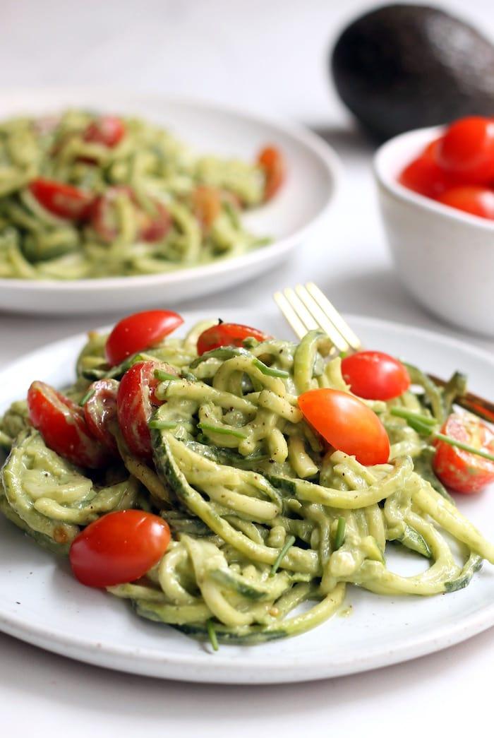 Creative recipes with basil--pesto zucchini noodles
