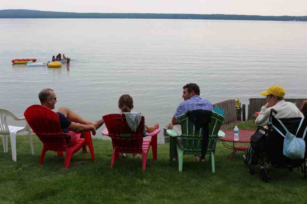 Northern Michigan vacation--watching the kids play in the lake