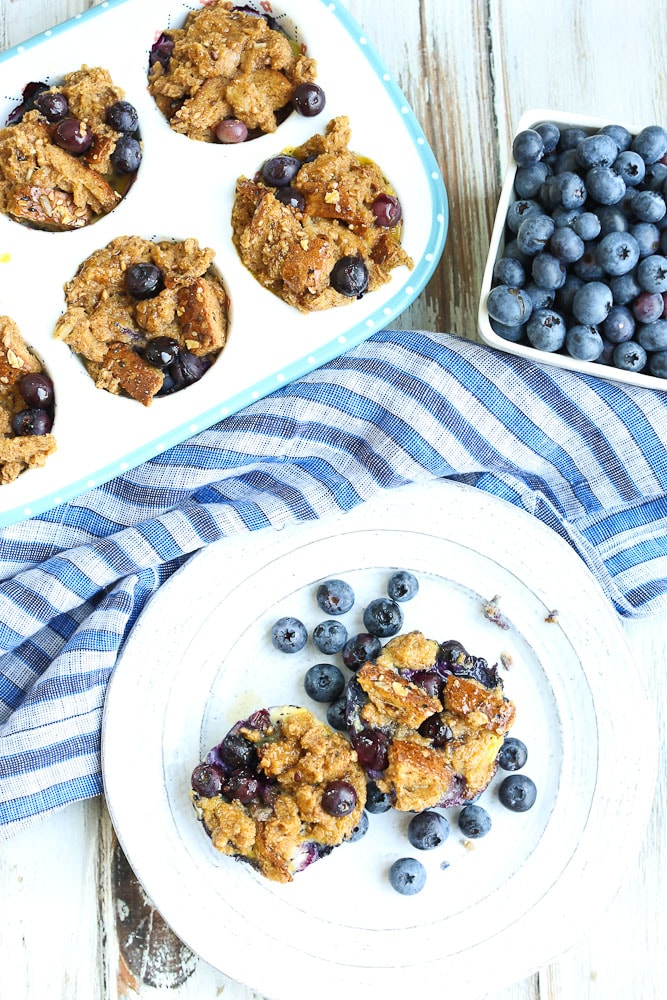 Baked Blueberry French Toast Cups Recipe Overhead Shot