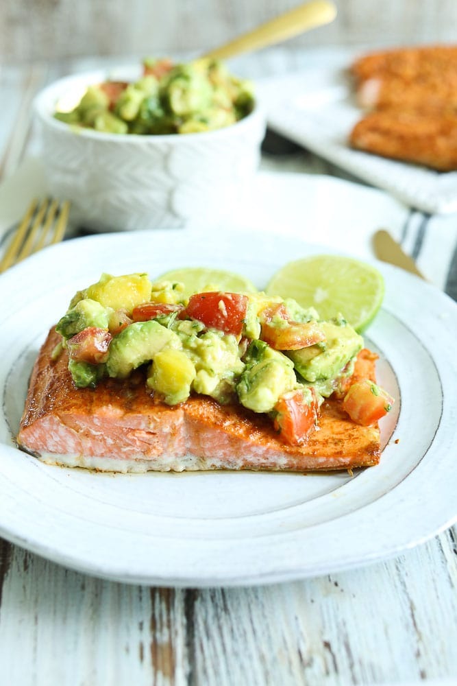 Chili Lime Baked Salmon Recipe with Pineapple Avocado Salsa on top