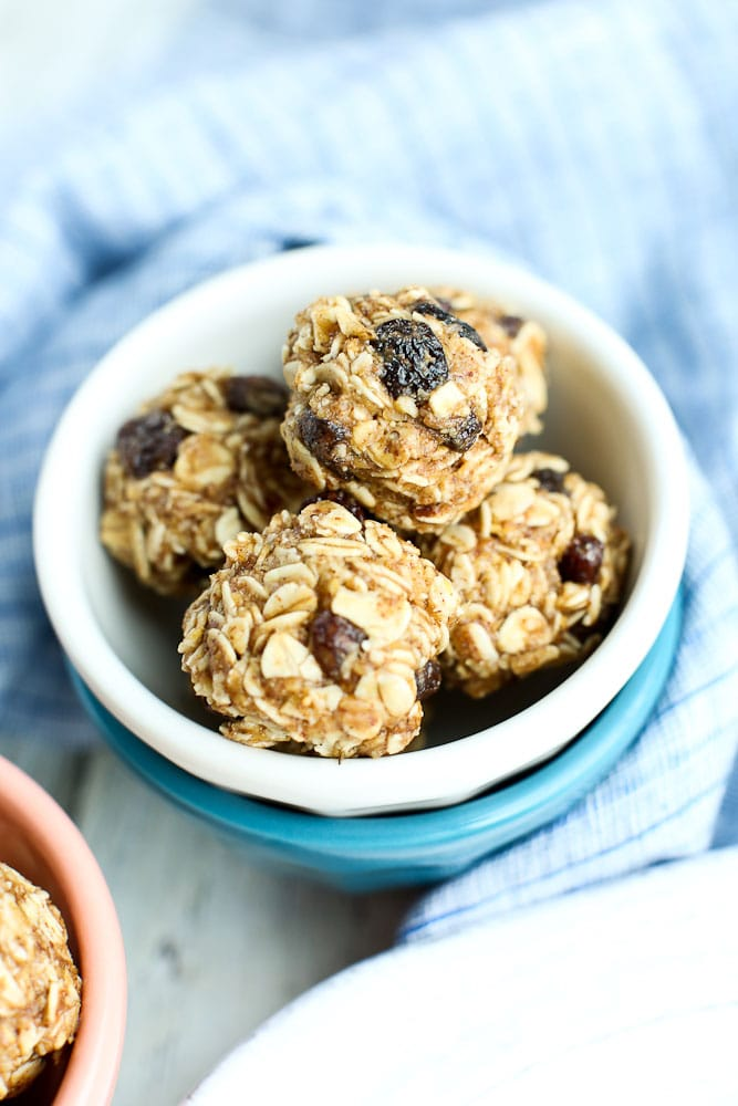 Oatmeal Cookie Energy Balls with raisins healthy snack ideas