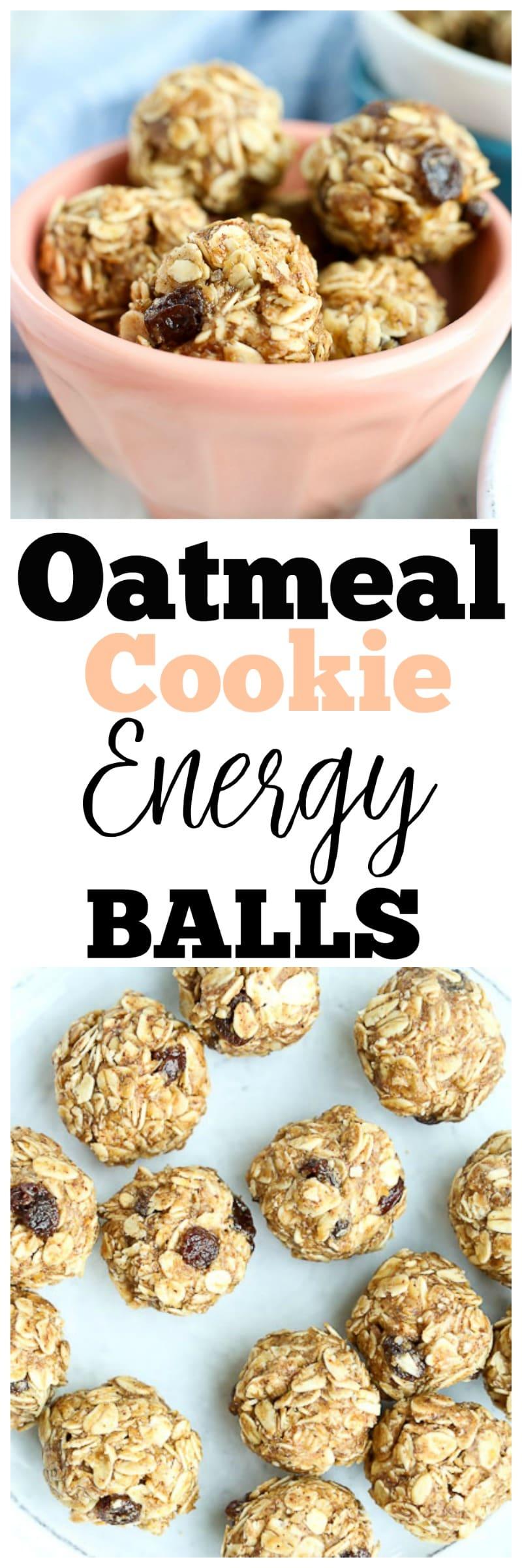 Oatmeal Cookie Energy Balls Recipe | healthy snack ideas | kid-friendly snack | gluten-free snacks | dairy-free snacks