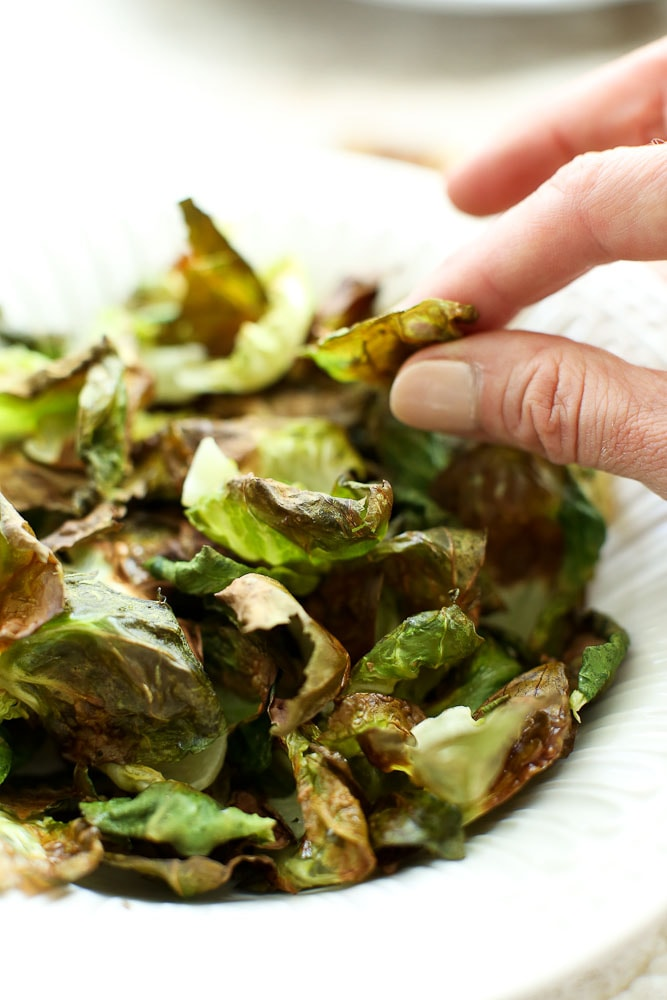 a Bowl of crispy Brussels Sprouts Chips