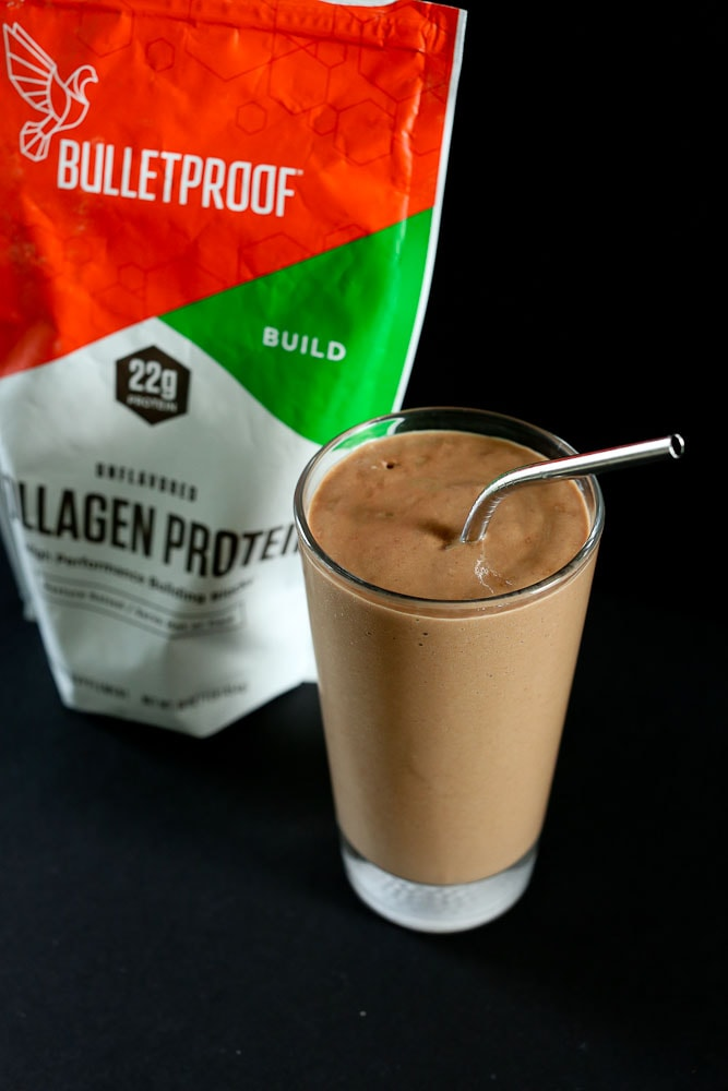 Café Mocha Collagen Protein Smoothie recipe with a bag of Bulletproof Collagen powder in the background