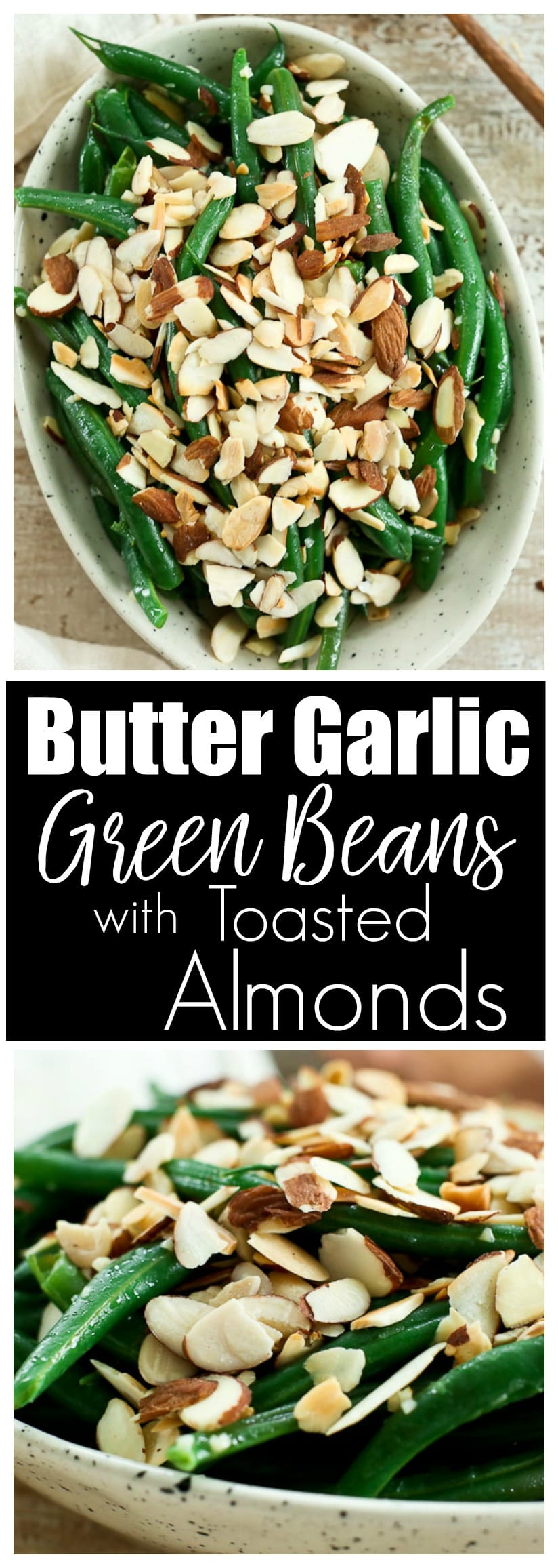 Garlic Butter Green Beans with Toasted Almonds recipe #thanksgivingrecipes #greenbeans #glutenfree #healthy #sidedish
