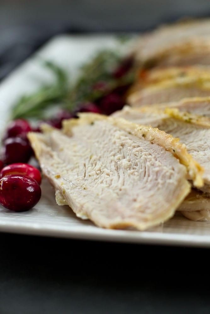 Roasted Turkey Breast Recipe slices on a plate