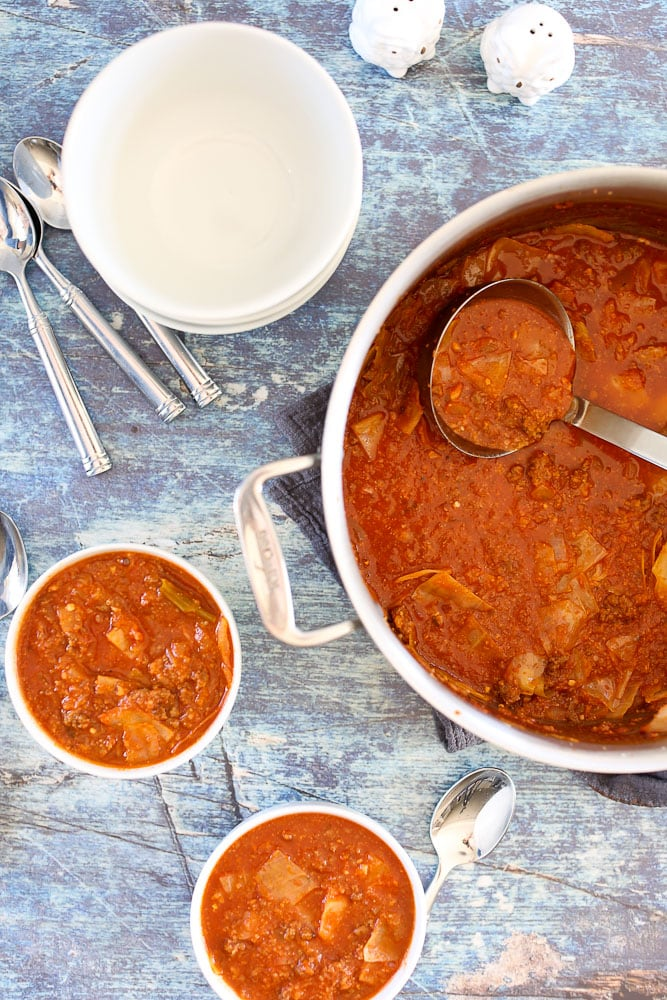 Unstuffed Cabbage Soup recipe the soup pot with a bowl of soup