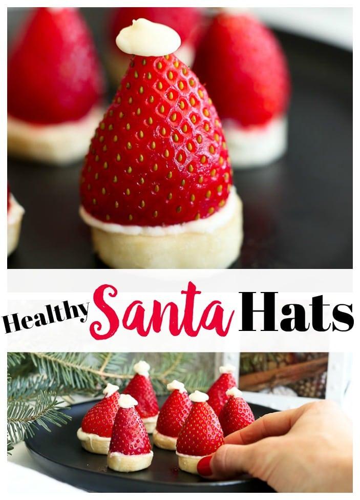 Strawberry Banana Santa Hats #Chrismtastreat #funfood #kids #recipe