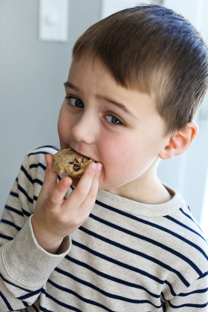 Healthy Chocolate Chip Cookies recipe-Luke taking a bite.