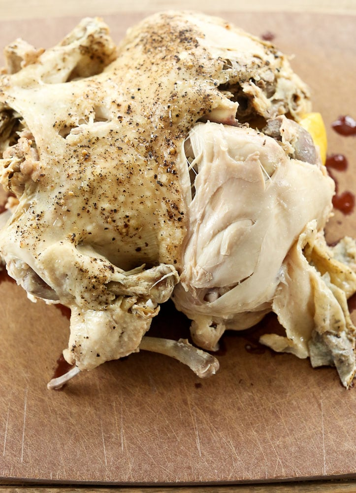 How to Cook a Whole Chicken in the Instant Pot the chicken after cooking showing how juicy and moist it is